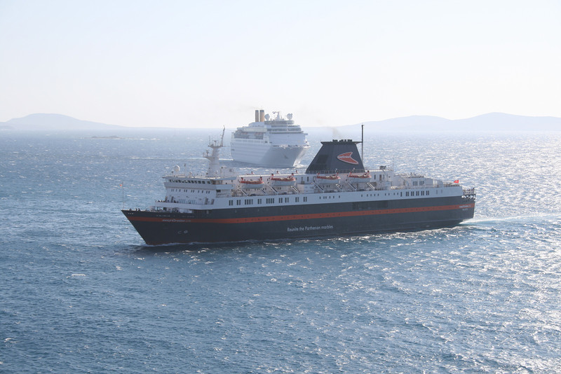 M/S EASYCRUISE LIFE arriving to Mykonos with COSTA ROMANTICA.