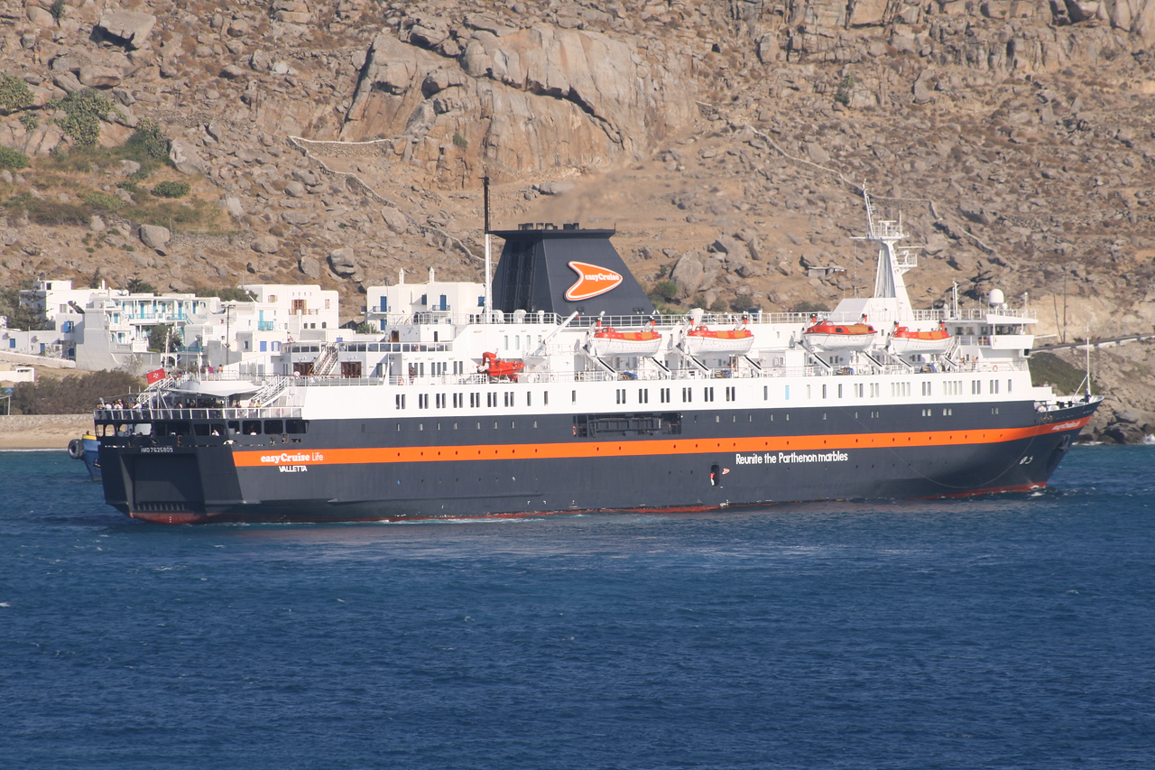 M/S EASYCRUISE LIFE arriving to Mykonos.