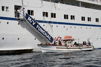 T/S FUNCHAL offshore Capri disembarking by tender.