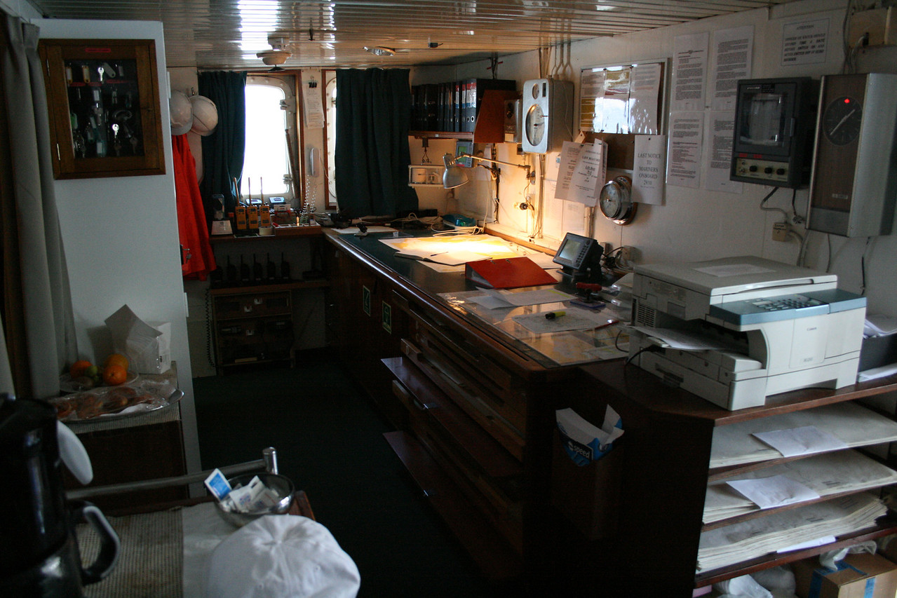 On board T/S FUNCHAL : Navigator's office.