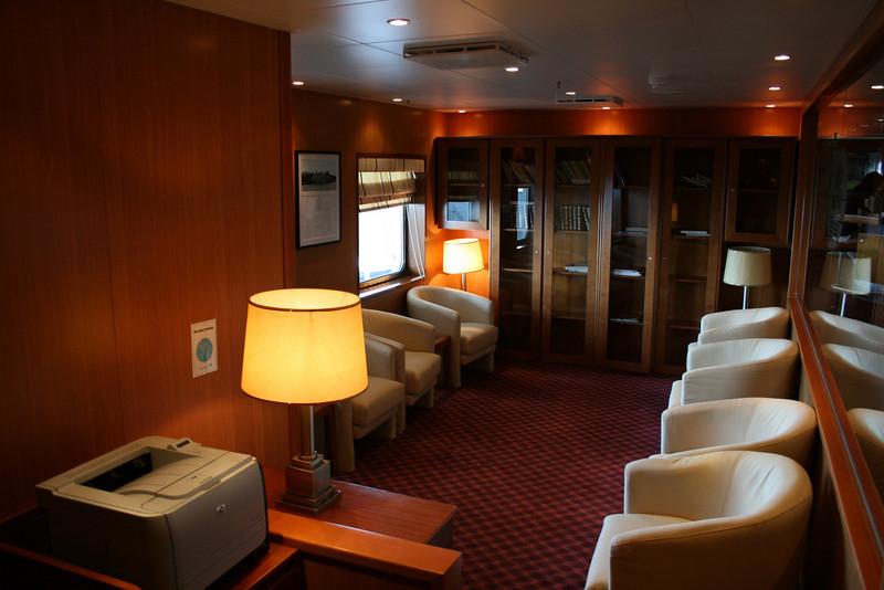 On board T/S FUNCHAL : Library, Promenade deck.