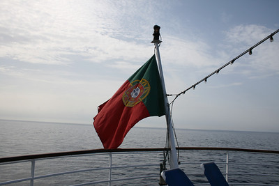 On board T/S FUNCHAL : Portuguese flag.