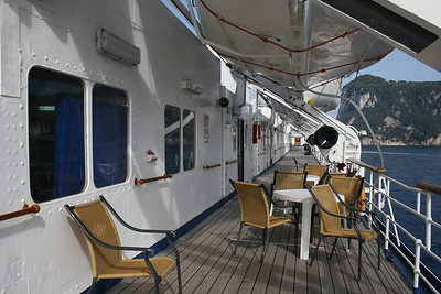 On board T/S FUNCHAL : walkway, Navigators deck.