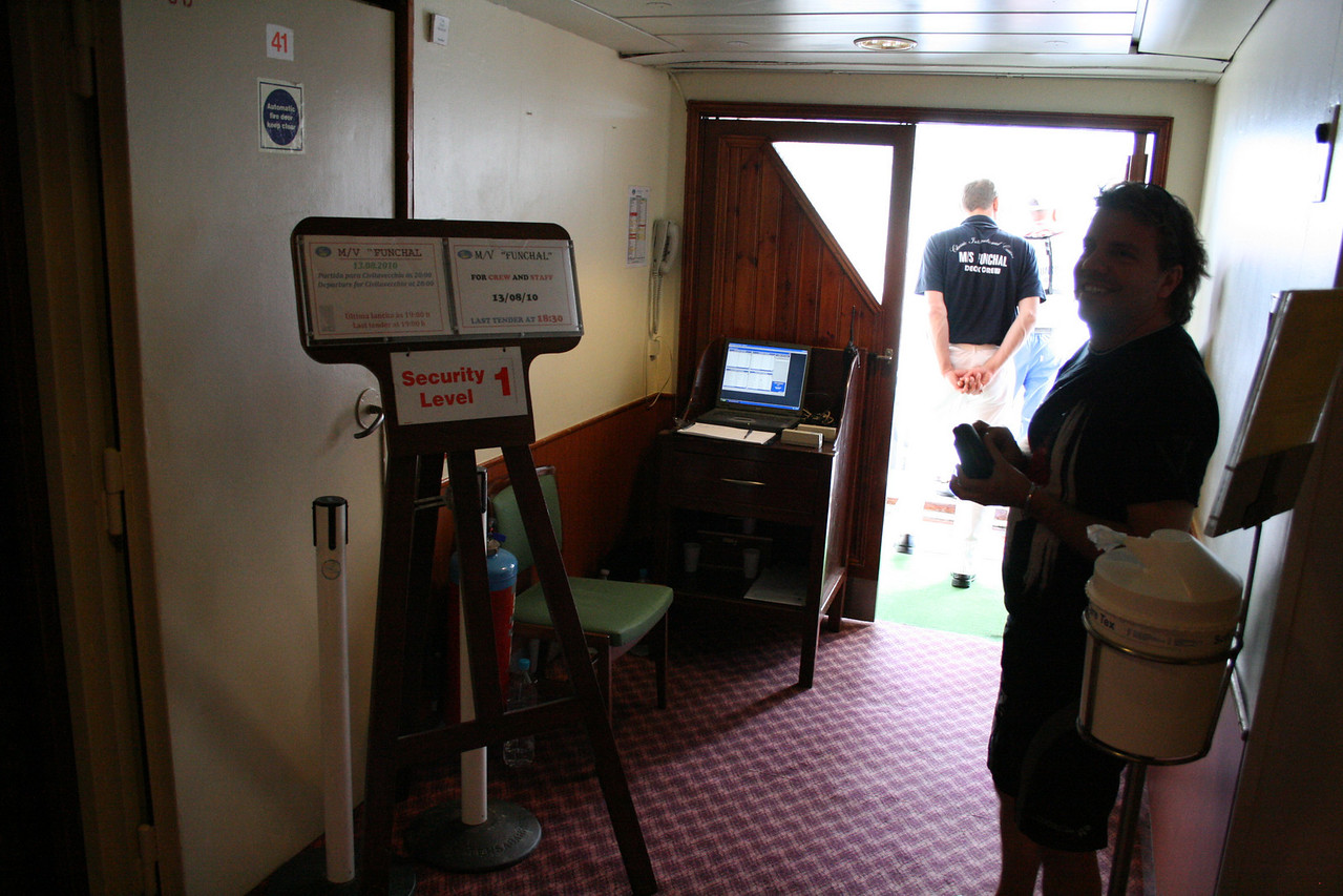 On board T/S FUNCHAL : security check.