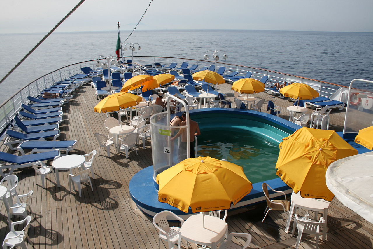 On board T/S FUNCHAL : Pool area, Promenade deck.