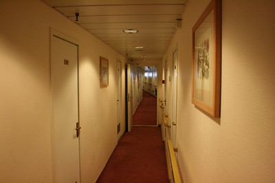 On board T/S FUNCHAL : cabin corridor.