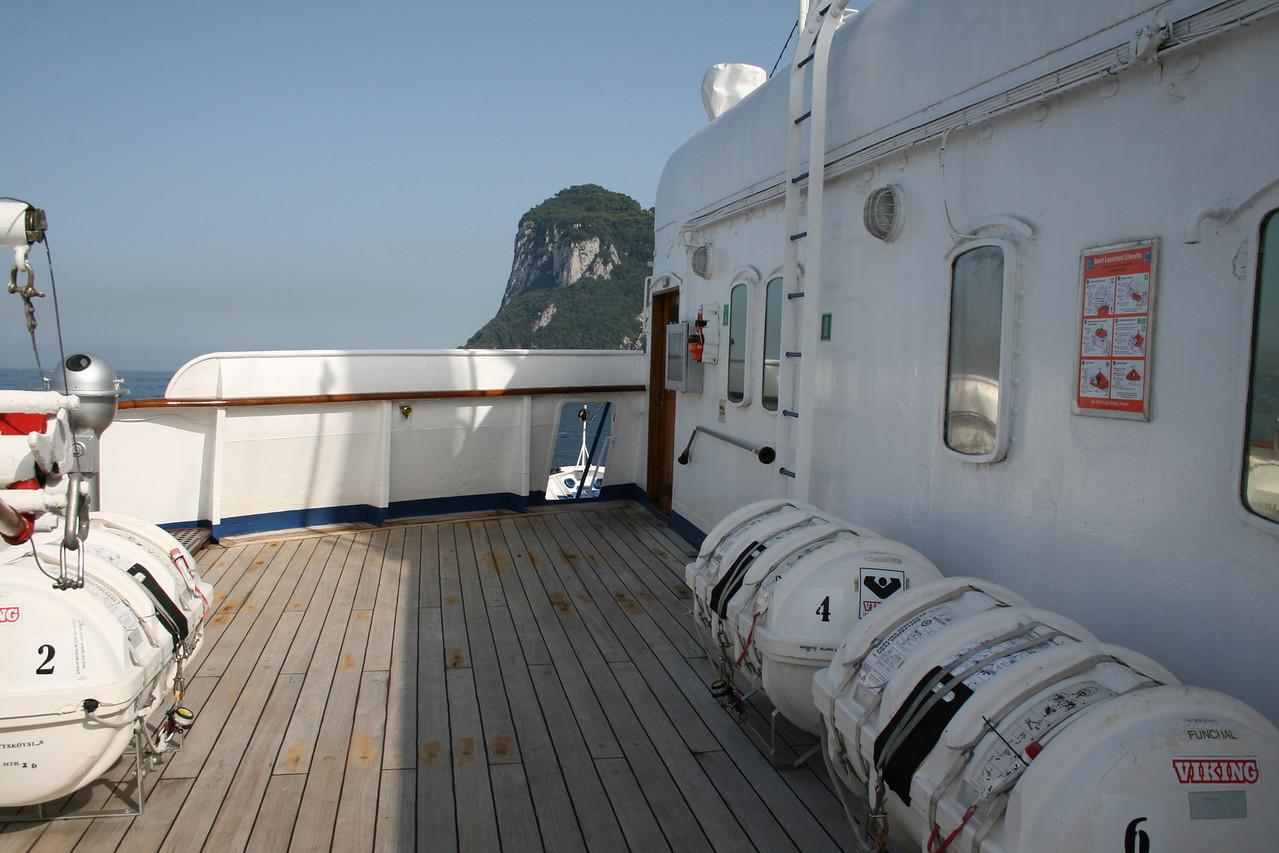 On board T/S FUNCHAL : Bridge wing, Navigators deck.
