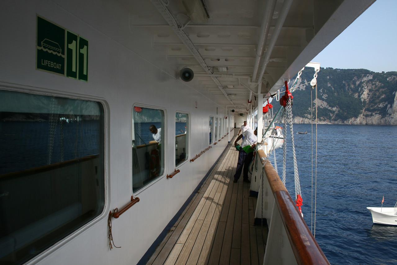 On board T/S FUNCHAL : walkway, Promenade deck