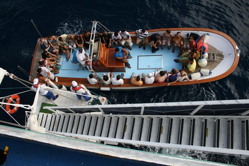 On board T/S FUNCHAL : offshore disembarking platform.