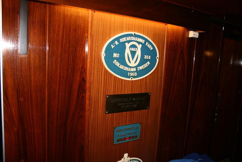 2009 - On board S/S KRISTINA REGINA : shipyards' plates.