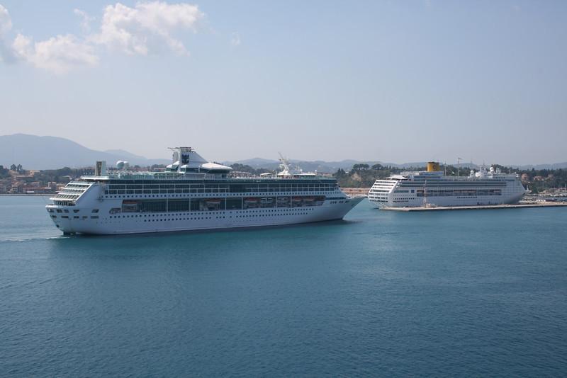 2009 - SPLENDOUR OF THE SEAS arriving to Corfu, with COSTA VICTORIA.