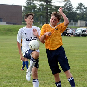 Braden Mallon, left, collides with Hulmeville defender.