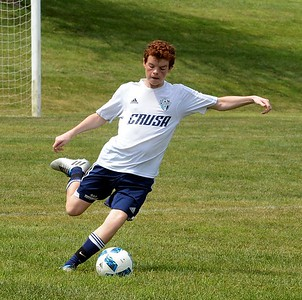 Aidan Lauck clears ball for CRUSA Elite 2001 boys soccer team.  (John Gleeson – 21st-Century Media)