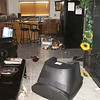 Damage from the 2006 Kiholo Bay earthquake in Kohala included a TV set that crashed to the floor, broken glass, and spilled refrigerator items.