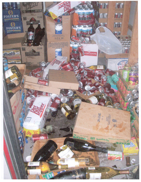 Cases of soda and bottles of wine fell to the floor during the 2006 Kiholo Bay earthquake.