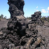 Tree molds near Mauna Ulu indicate the height of the former lava flow that raced through this forest; as the lava drained away, cooled crust remained on the trees. Photo by Trystal Glynn-Morris.