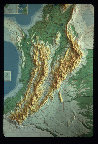 A topographic map shows the Colombian portions of the Andes mountain ranges in South America.