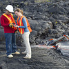 UH Hilo Geology students practice mapping the perimeter of a molten lava flow by collecting a waypoint using GPS. Photo by Jack Dykinga.