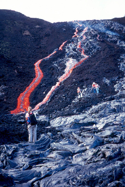 Students view lava river
