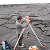 Student Sean O'Neill sets up a TFS to survey Mokuaweoweo caldera on Mauna Loa. Photo by CSAV.