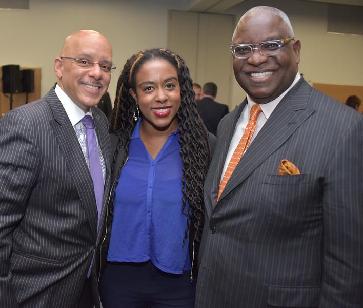 Senator Vincent Hughes, Tiffanie Stanard, CEO of Stimulus and Osagie Imasogie, PIPV Capital