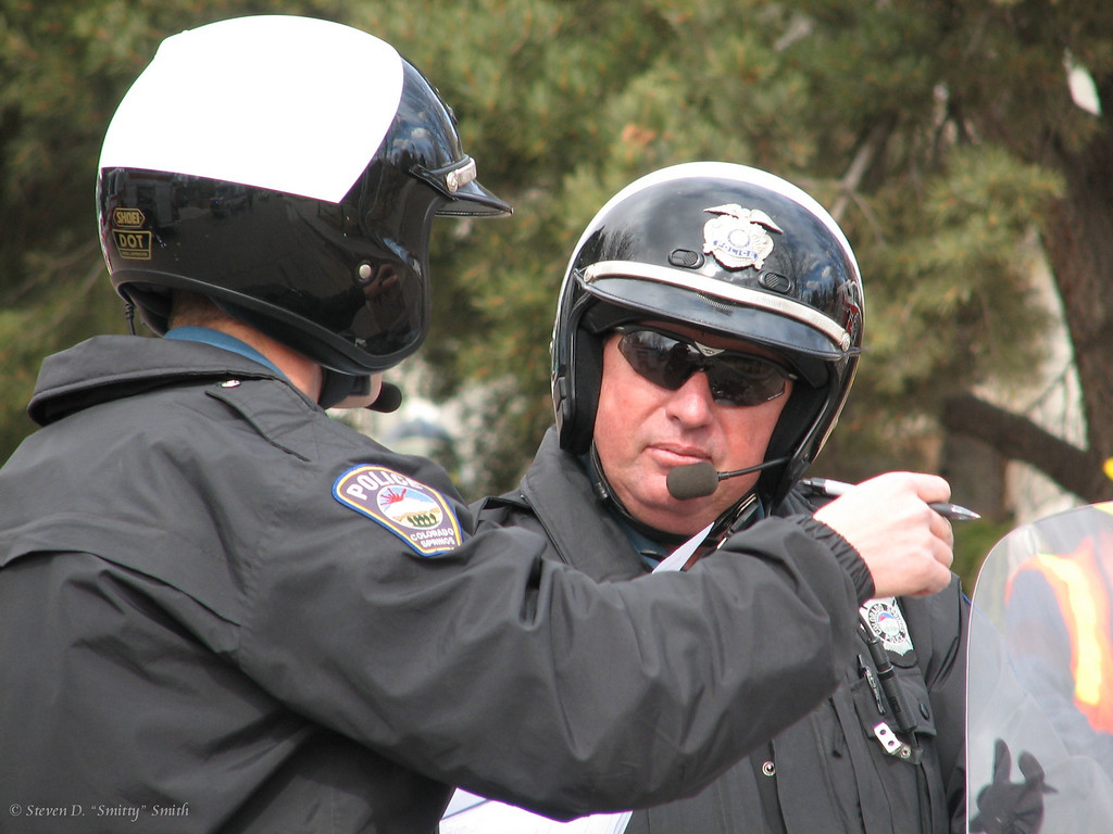 CSPD Officer Toth talking with another motorcycle officer.