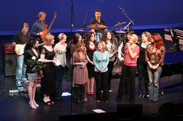 We gave Lori Maier a plaque and flowers for the 20th Anniversary of Chick Singer Night.