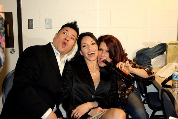 Steve, Celeste & Deena goofing around in the green room before the show.