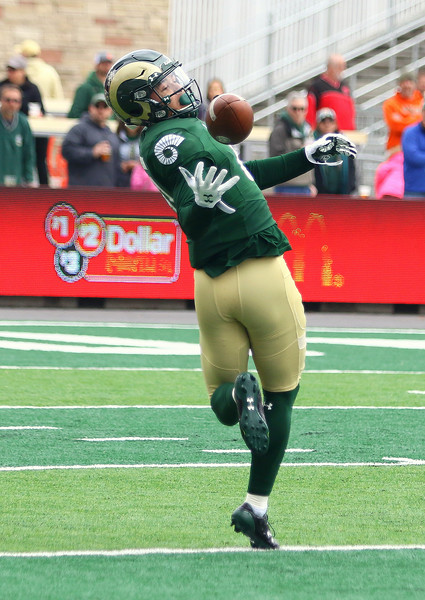 CSU receiver Bisi Johnson reaches back for a pass unsuccessfully in Saturday's Green-Gold game at CSU Stadium. The Rams struggled throwing the ball on the day. (Javon Harris/For the Loveland Reporter-Herald)
