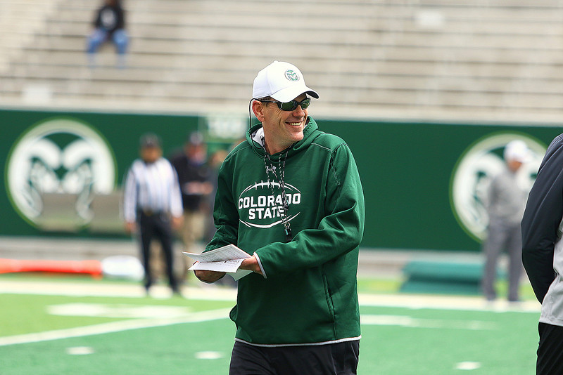 Colorado State coach Mike Bobo liked the way his team progressed through spring camp despite limited numbers of available players on the roster. Camp concluded with Saturday's Green-Gold game, with the defense winning 44-31. (Javon Harris/For the Loveland Reporter-Herald)