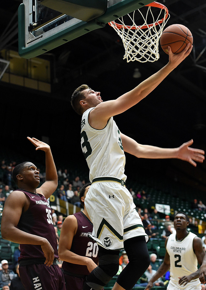 Colorado State University's #33 Braden Koelliker shoots during their game against Maryland Eastern Shore Wednesday, Nov. 23, 2016, at Moby Arena in Fort Collins. (Photo by Jenny Sparks/Loveland Reporter-Herald)