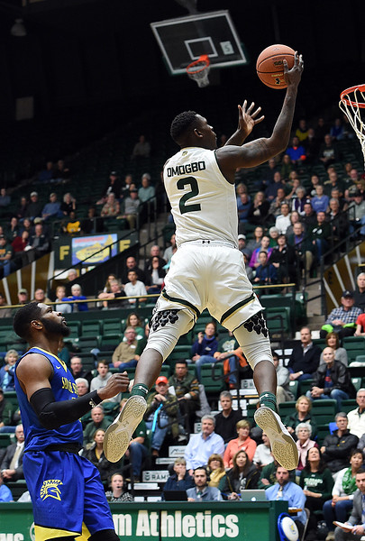 Colorado State University's #2 Emmanuel Omogbo goes up for a shot during their game against San Jose State on Wednesday, Jan. 25, 2017, at Moby Arena in Fort Collins. (photo by Jenny Sparks/Loveland Reporter-Herald)