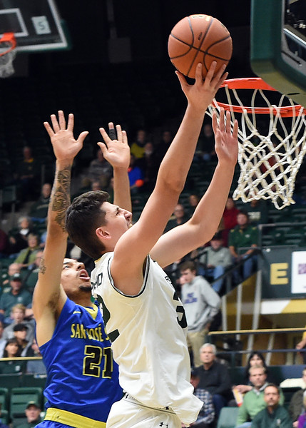 Colorado State University's #32 Nico Carvacho goes up for a shot during their game against San Jose State on Wednesday, Jan. 25, 2017, at Moby Arena in Fort Collins. (photo by Jenny Sparks/Loveland Reporter-Herald)