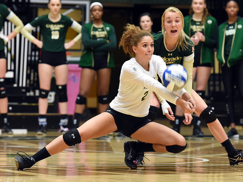 Colorado State University's #2 Cassidy Denny digs the ball during their game against Wyoming on Tuesday, Nov. 22, 2016, at Moby Arena in Fort Collins. (Photo by Jenny Sparks/Loveland Repdorter-Herald)
