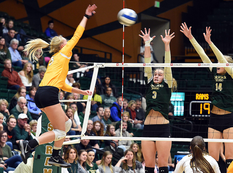Colorado State University's #3 Olivia Nicholson, left, and #14 Alexandra Poletto block a shot by Wyoming's #5 Kayla Slofkiss on Tuesday, Nov. 22, 2016, at Moby Arena in Fort Collins. (Photo by Jenny Sparks/Loveland Repdorter-Herald)