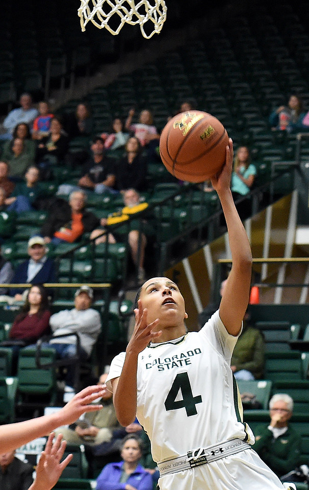 Colorado State University's #4 Jordyn Edwards goes up for a shot during their game against Adams State Wednesday, Nov. 23, 2016, at Moby Arena in Fort Collins. (Photo by Jenny Sparks/Loveland Reporter-Herald)