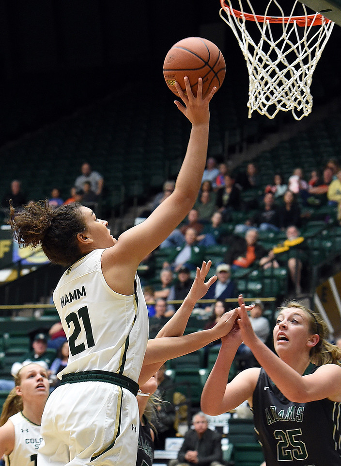 Colorado State University's #21 Myanne Hamm shoots the ball during their game against Adams State Wednesday, Nov. 23, 2016, at Moby Arena in Fort Collins. (Photo by Jenny Sparks/Loveland Reporter-Herald)