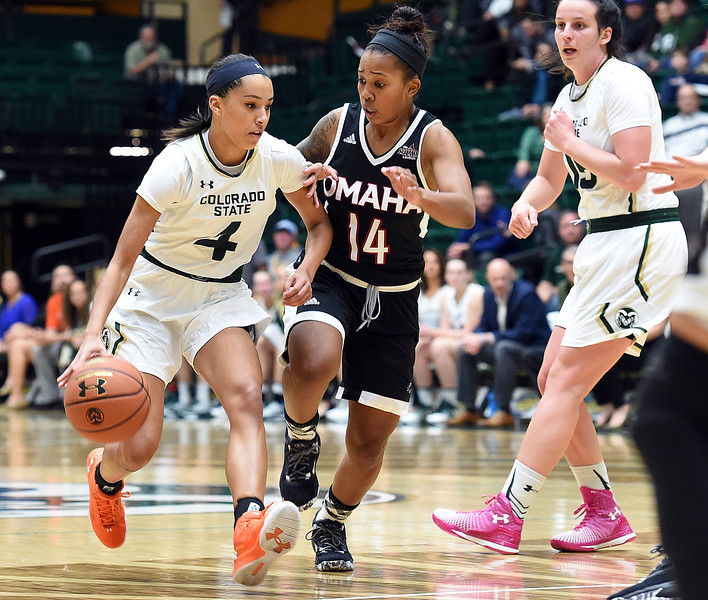Colorado State University's #4 Jordyn Edwards moves the ball down court as Omaha'S #14 Marissa Preston stays close during their game Friday, Nov. 11, 2016, at Moby Arena in Fort Collins.   (Photo by Jenny Sparks/Loveland Reporter-Herald)