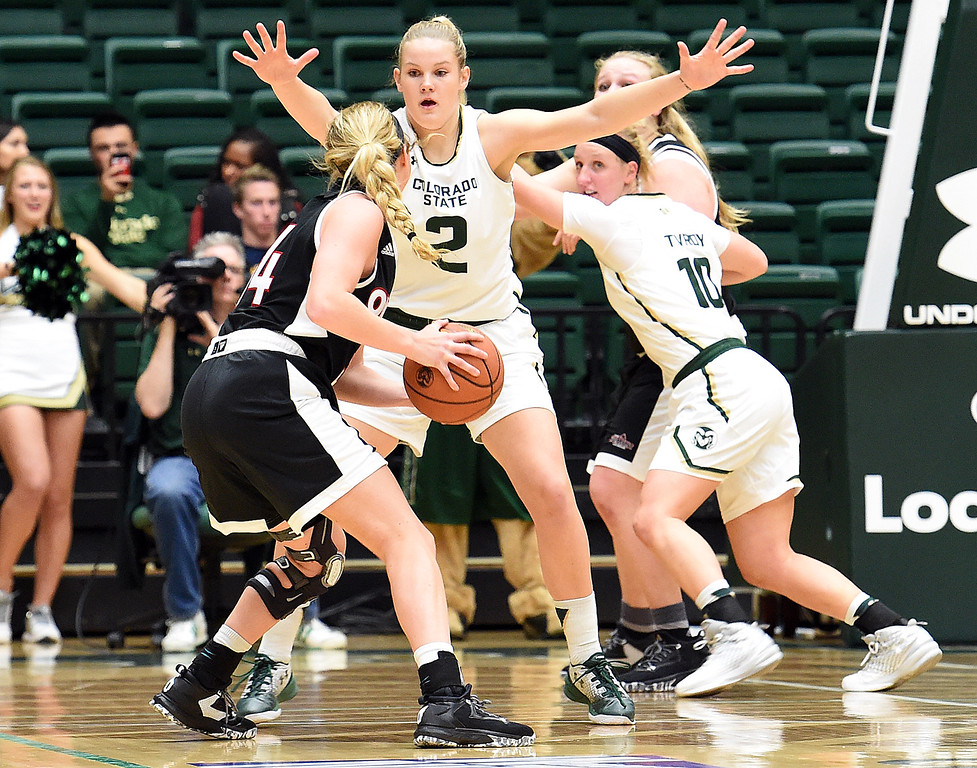 Colorado State University's #2 Stine Austgulen blocks Omaha's #34 Ellie Brecht during their game Friday, Nov. 11, 2016, at Moby Arena in Fort Collins.   (Photo by Jenny Sparks/Loveland Reporter-Herald)