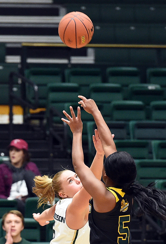 Colorado State University's #5 Sofie Tryggedsson blocks a shot by Southeastern Louisiana's #5 Charliee Dugas during their game Friday, Dec. 3, 2016, at Moby Arena in Fort Collins. (Photo by Jenny Sparks/Loveland Reporter-Herald)