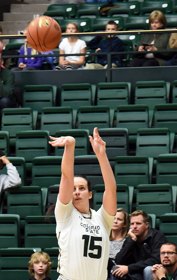 Colorado State University's #15 Veronika Mirkovic shoots a three pointer during their game against Southeastern Louisiana Friday, Dec. 3, 2016, at Moby Arena in Fort Collins. (Photo by Jenny Sparks/Loveland Reporter-Herald)