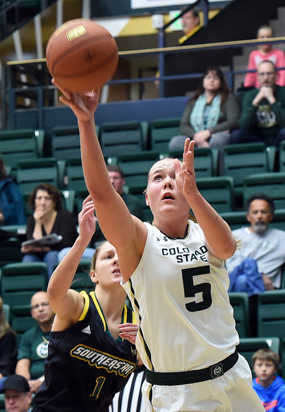 Colorado State University's #5 Sofie Tryggedsson goes up for a shot during their game against Southeastern Louisiana Friday, Dec. 3, 2016, at Moby Arena in Fort Collins. (Photo by Jenny Sparks/Loveland Reporter-Herald)
