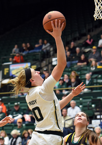Colorado State University's #10 Hannah Tvrdy goes up for a shot during their game against Southeastern Louisiana Friday, Dec. 3, 2016, at Moby Arena in Fort Collins. (Photo by Jenny Sparks/Loveland Reporter-Herald)