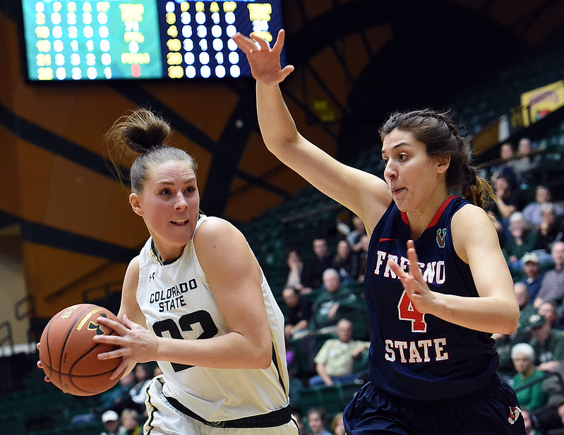 Colorado State's #22 Elin Gustavsson takes the ball down court past Fresno's #4 Bego Faz Davalos during their game Wednesday, Jan. 18, 2017, at Moby Arena in Fort Collins. (Photo by Jenny Sparks/Loveland Reporter-Herald)