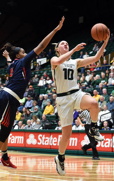 Colorado State's #10 Hannah Tvrdy goes up for a shot past Fresno's #3 Tory Jacobs during their game Wednesday, Jan. 18, 2017, at Moby Arena in Fort Collins. (Photo by Jenny Sparks/Loveland Reporter-Herald)