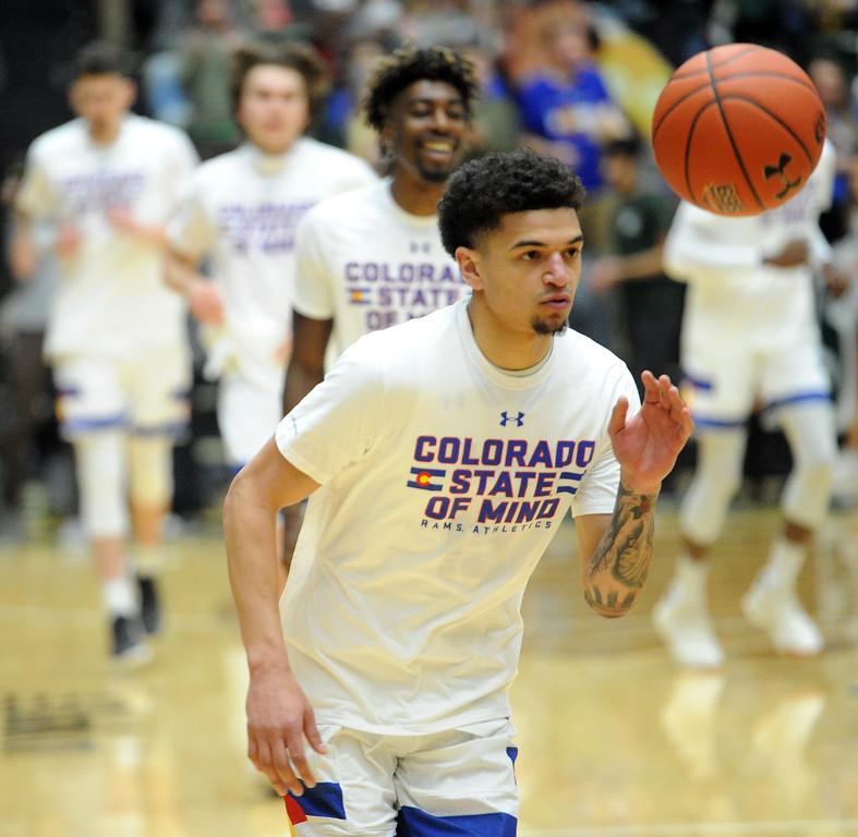 . Anthony Masinton-Bonner goes through warmups against Nevada on Feb. 6, 2019. (Colin Barnard/Loveland Reporter-Herald)