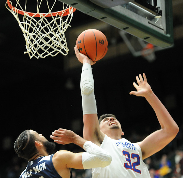 Nico Carvacho makes a layup against Nevada on Feb. 6, 2019. (Colin Barnard/Loveland Reporter-Herald)