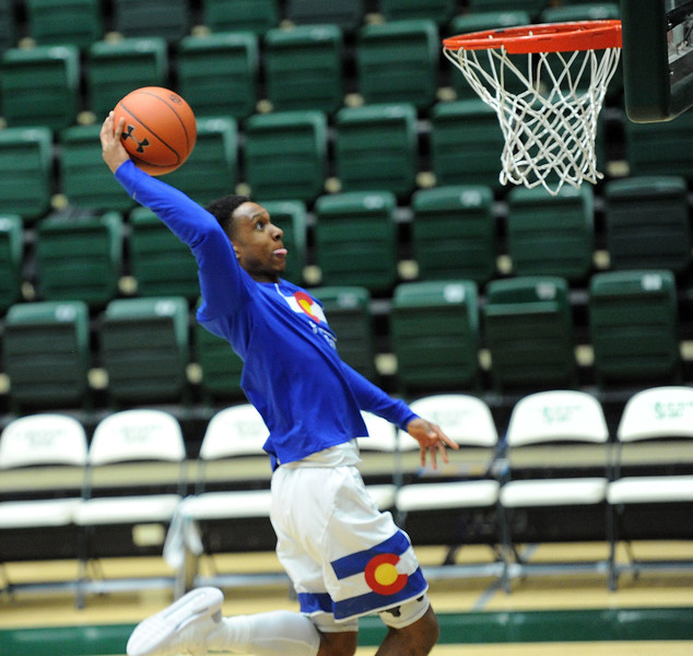 Hyron Edwards throws down a dunk before the Nevada game onDeb. 6, 2019 in Moby Arena. (Colin Barnard/Loveland Reporter-Herald)