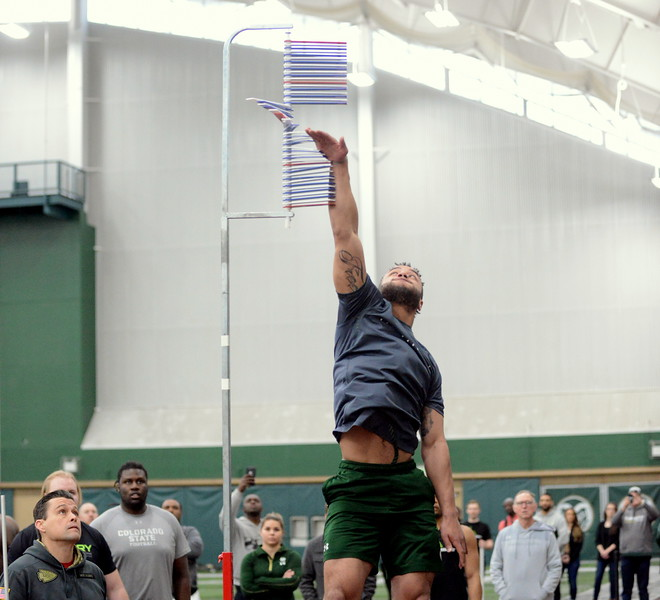 Colorado State cornerback V.J. Banks touched 32.5 inches on the vertical jump during Wednesday's pro-day testing at the indoor practice facility. (Mike Brohard/Loveland Reporter-Herald)