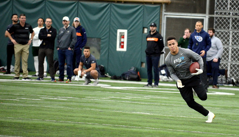 Colorado State's Bisi Johnson backed up his impressive showing at the NFL Combine last week with another strong performance at the  Rams' pro-day testing. One scout said Johnson will be on every team's draft board. (Mike Brohard/Loveland Reporter-Herald)